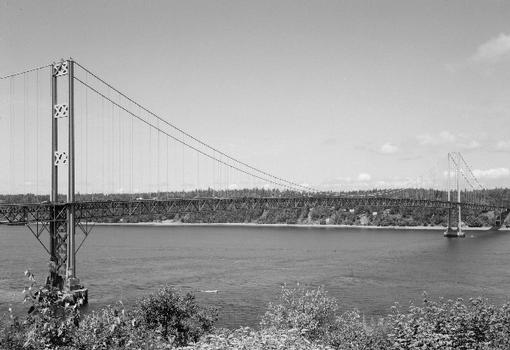"Tacoma Narrows bridge in perspective looking west from the ""Millers Addition"" subdivision (HAER WA-99-1)"