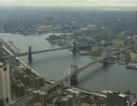 Brooklyn Bridge:  View looking east from top of World Trade Tower   (HAER, NY,31-NEYO,90-74)