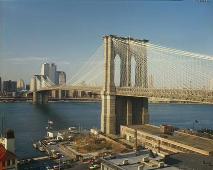 Brooklyn Bridge: View looking north with former Brooklyn ferry slip in foreground (HAER, NY,31-NEYO,90-79)