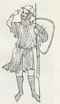 Possible self-portrait of Villard de Honnecourt (excerpt from his album)