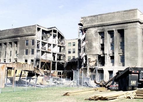 A view of the damaged west wall of the Pentagon Building in Washington, D. C. under reconstruction. The Building was damaged on 09/11/2001 when five members of the Al-Qaida terrorist group hijacked American airlines flight 77, a Boeing 757-200 commercial jetliner and crashed the aircraft into the Pentagon Building, killing themselves and all 64 passenger on board