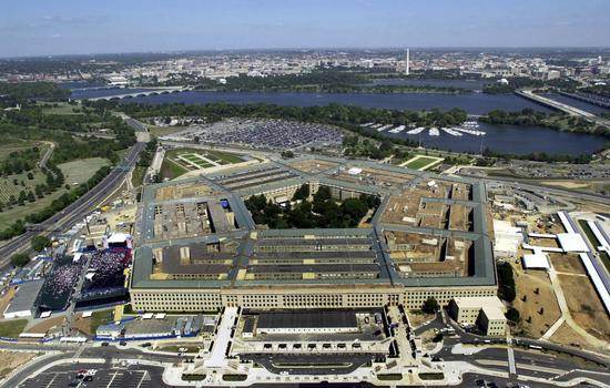 An aerial view of the Pentagon, in Washington, District of Columbia (DC), as a 9/11 Memorial Service is conducted on the Southwest corner, the area of the building damaged during the 9/11 attack