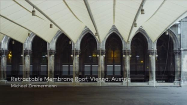 Retractable Membrane Roof, Vienna, Austria : The foldable membrane roof structure designed for the Vienna Town Hall´s arcade is fully retractable for optimal functionality and carefully incorporated into the neo-gothic arches of the inner courtyard of this historical building. Michael Zimmermann talks us through each decision and motivation behind this project.  For more information on this project please visit: www.moveables.sbp.de