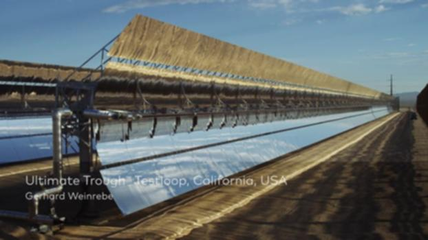 Ultimate Trough Testloop, Harper Lake, California, USA : The Ultimate Trough is the largest and arguably the most cost-efficient parabolic trough collector in the world. Electricity generation costs are minimized by the combination of improved structure - employing for the first time automotive joining technologies - and better optical and aerodynamic properties. Gerhard Weinrebe explains the engineering drive and technology behind the Ultimate Trough. For more information on this project please visit: www.moveables.sbp.de
