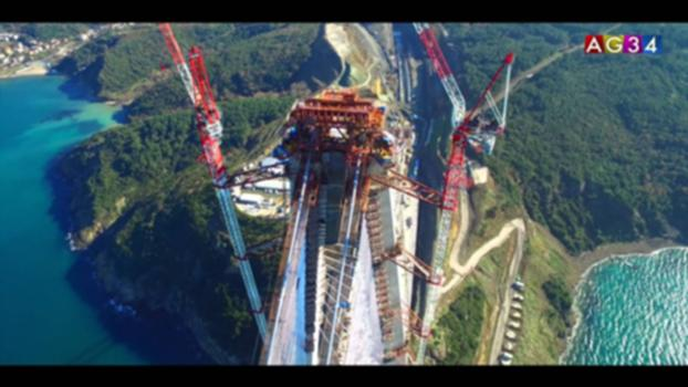 Yavuz Sultan Selim / Third Bosphorus Bridge:Suspension bridge with cable-stays in Istanbul, Turkey.