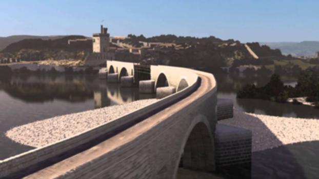 Pont d'Avignon, film reconstitution numérique en 3D : Retrouvez article complet sur http://www.leprojecteur.com/patrimoine/le-pont-d-avignon-3d-patrimoine-culturel-grand-avignon