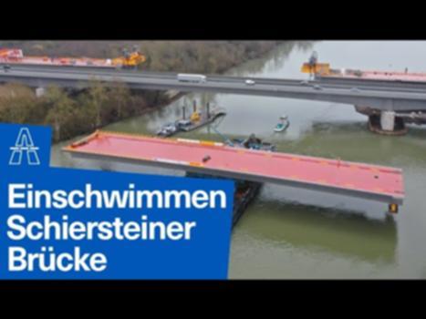 Schiersteiner Brücke: Land in Sicht : Ende Januar stimmte endlich alles: Der Pegelstand des Rheins war hoch genug, die Fließgeschwindigkeit perfekt und auch der Wind wehte nicht zu stark: In einer viertätigen Aktion konnte die letzte Lücke der neuen Schiersteiner Brücke geschlossen werden. Der volle Einsatz der Niederlassung West der Autobahn GmbH war gefragt.
