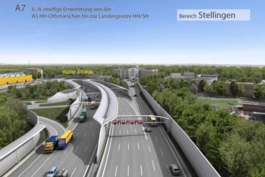 Hamburger Deckel:Hamburger Stadtraum entlang der A 7 nach dem Ausbau und der Überdeckelung der Autobahn. Weitere Informationen unter: http://www.hamburg.de/a7-deckel/
