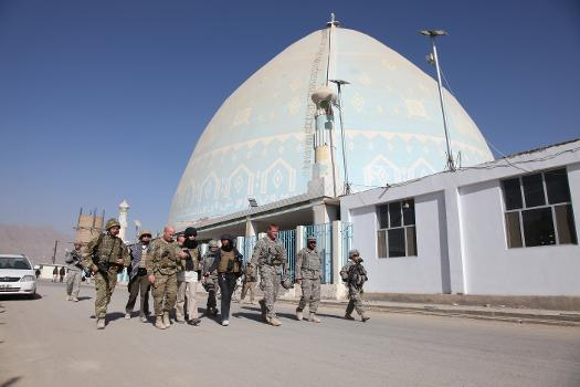 Kandahar University Mosque : U.S. Army Brig. Gen. Kenneth Dahl, third from left, the 10th Mountain Division deputy commanding general for support, leads a multi-national group past a mosque at Kandahar University in Kandahar, Afghanistan, Jan. 4, 2011. Dahl met with Hazrat Mir Totakhail, the chancellor of the university, to discuss current university operations. (DoD photo by Cpl. Carol A. Lehman, U.S. Army/Released)