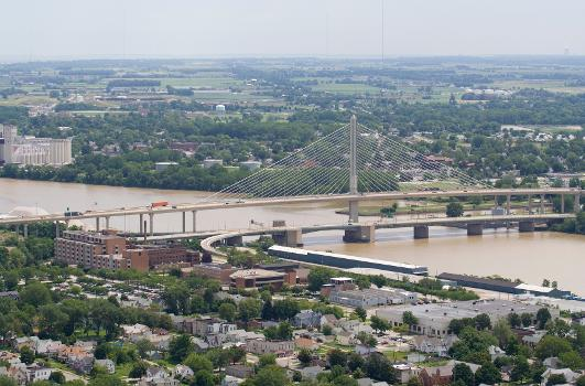 Veterans' Glass City Skyway, a 2007 cable-stayed bridge in Toledo, Ohio, with the Craig Memorial Bridge, a 1957 bascule bridge, in the foreground.