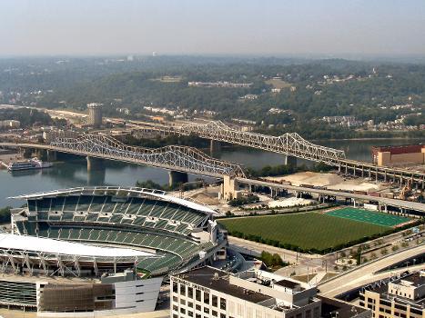 Brent Spence Bridge & Clay Wade Bailey Bridge & Paul Brown Stadium & C & O Bridge