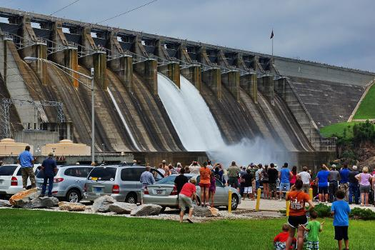 Hartwell Dam : The U.S. Army Corps of Engineers Savannah District tested the spillway gates at the Hartwell Dam, July 10, 2013. The test was part of the Savannah District's Dam Safety Program to ensure the gates can be activated properly in the event of an emergency. Photo by Doug Young, Lake Hartwell Association.
