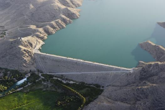 Dahla Dam, to the north of Kandahar City in Afghanistan, holds water for irrigation from the Arghandab River