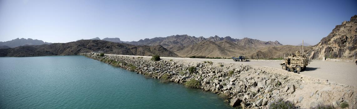 Dahla Dam : Members of the United States military conducting a survey ar the Dahla Dam in Kandahar Province, southern Afghanistan.