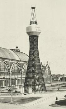 Hyperboloid water tower - the world's first steel tensile structure by the Russian engineer and scientist Vladimir Shukhov (1853-1939) in 1896. The All-Russia industrial and art exhibition 1896 in Nizhny Novgorod.