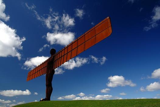 Engel des Nordens, eine Skulptur von Antony Gormley nahe Gateshead, Vereinigtes Königreich