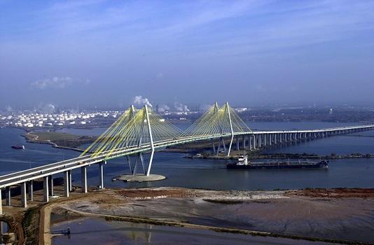 The Fred Hartman Bridge over the Houston Ship Channel, Houston, Texas, USA