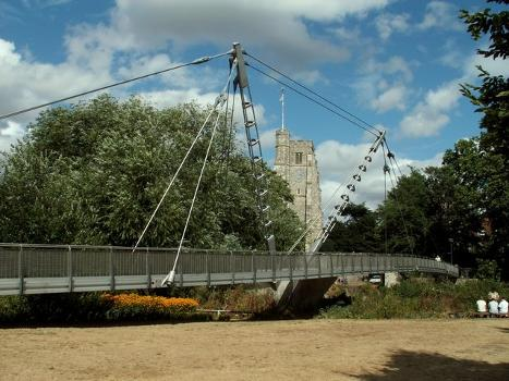 Lockmeadow Millennium Bridge, Maidstone, Kent : This footbridge was opened to the public in October 1999 and it has since won a Structural Achievement Award. The tower of All Saints church can be seen in the background.
