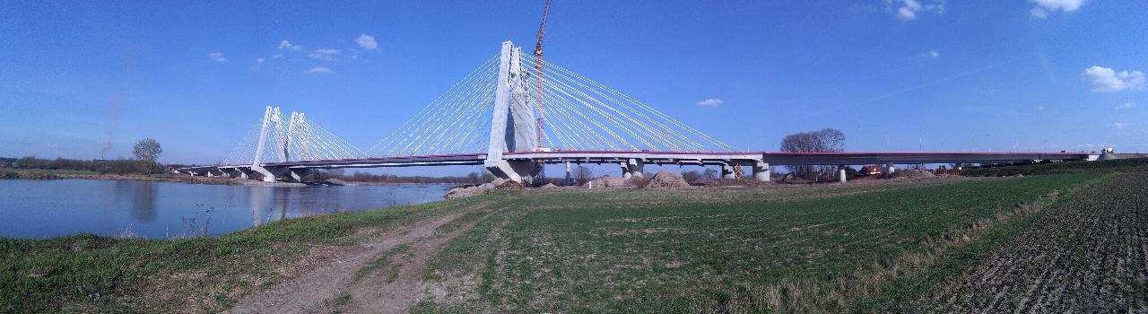 Cardinal Macharski Bridge in Krakow, Poland construction panorama
