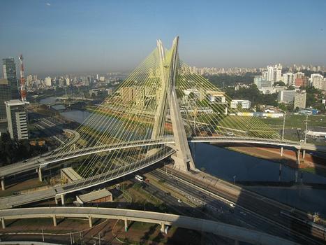 Octavio Frias de Oliveira Bridge in São Paulo, Brazil. View from the Hilton São Paulo Morumbi