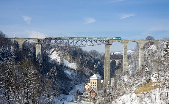 Das Sittertobelviadukt ist die höchste normalspurige Eisenbahnbrücke Europas. Die Schienen befinden sich 99 m über dem Wasser. In diesem Bild überquert gerade ein stündlicher Voralpenexpress (Luzern - Romanshorn), gezogen von einer Re 456 der Südostbahn den Viadukt
