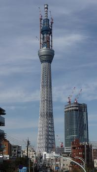 Tokyo Sky Tree under construction at a height of 559 m. The tower tip tuned mass damper room, four 4-layer of digital terrestrial television (ISDB-T) antennas and craning mast of tower cranes are covered by net to prevent to drop off the lump of fallen and cumulated snow on pedestrian on the ground