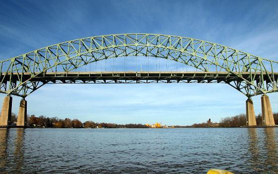 Delaware River - Turnpike Toll Bridge over the Delaware River : Connects Bristol Township (PA) with Burlington Township (NJ)