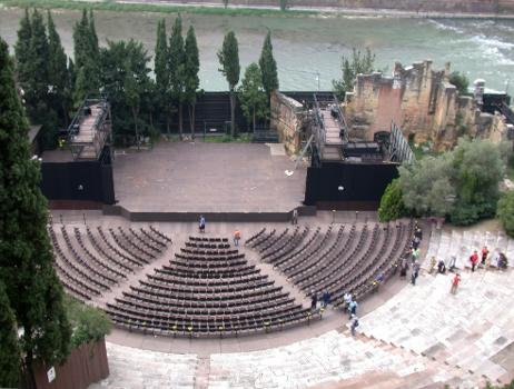 Verona, roman theater. Cavea seen from Archaeological Museum.