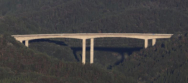 Washimi Bridge on Tokai-Hokuriku Expressway seen from Mount Washi in Gujo, Gifu