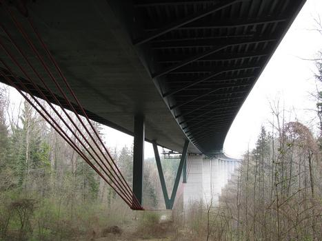 "Tension cables to the underside of the viaduct ""Obere Argen"" near Wangen im Allgäu, Germany"