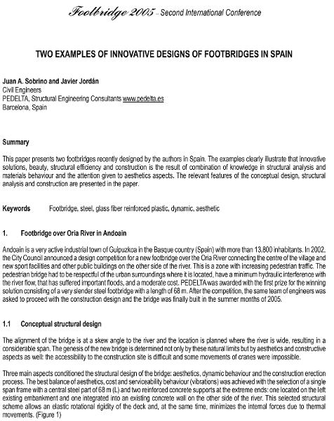Two examples of innovative designs of footbridges in Spain