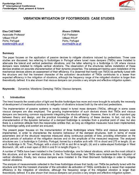 Vibration mitigation of footbridges: case studies