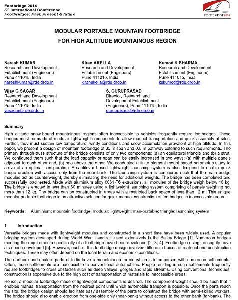 Modular portable mountain footbridge for high altitude mountainous regions