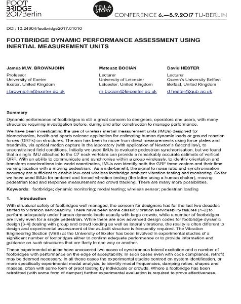 Footbridge Dynamic Performance Assessment Using Inertial Measurement Units