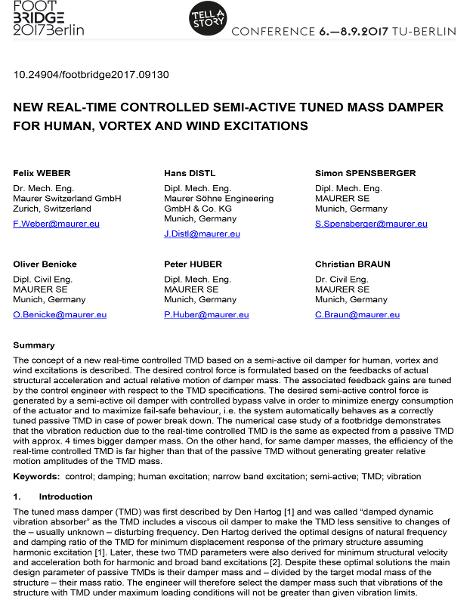 New Real-Time Controlled Semi-Active Tuned Mass Damper for Human, Vortex and Wind Excitations