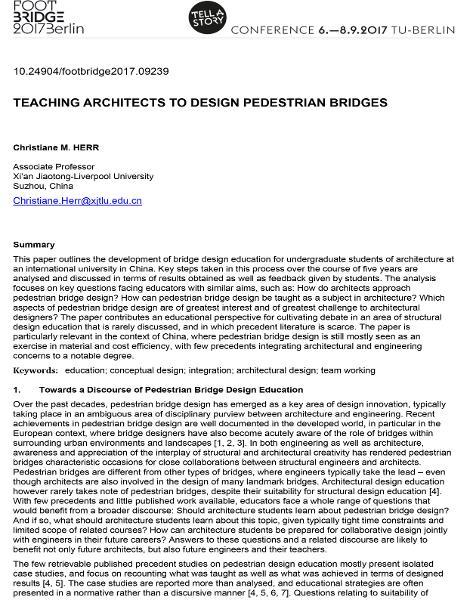 Teaching Architects to Design Pedestrian Bridges