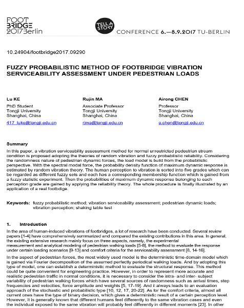Fuzzy Probabilistic Method of Footbridge Vibration Serviceability Assessment Under Pedestrian Loads