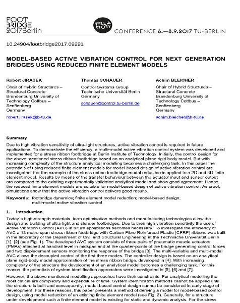 Model-Based Active Vibration Control for Next Generation Bridges Using Reduced Finite Element Models