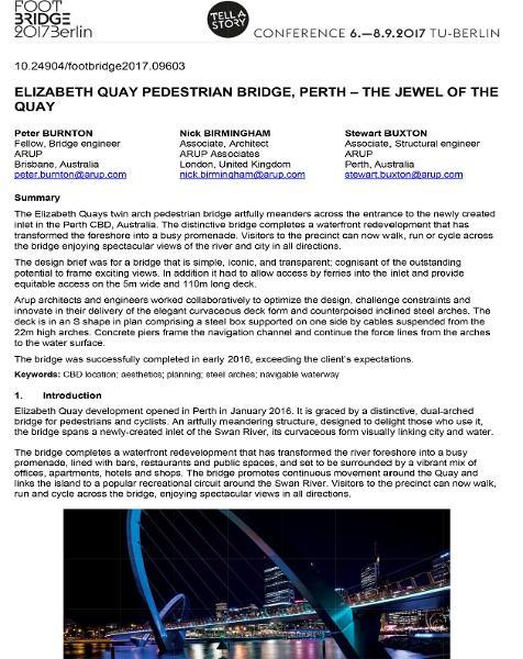 Elizabeth Quay Pedestrian Bridge, Perth - The Jewel of the Quay