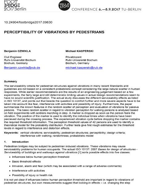 Perceptibility of Vibrations by Pedestrians
