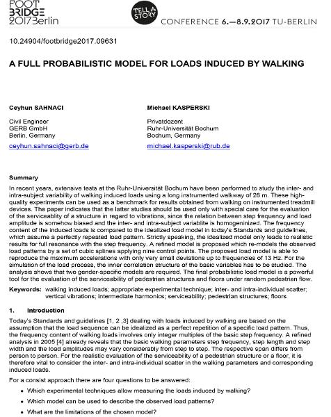 A Full Probabilistic Model for Loads Induced by Walking