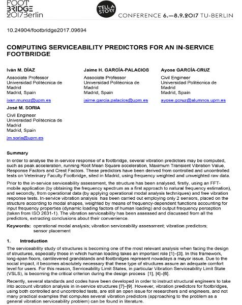 Computing Serviceability Vibration Predictors for an In Service Footbridge