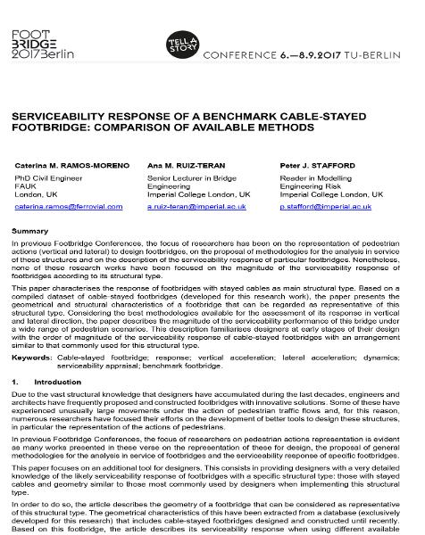 Serviceability Response of a Benchmark Cable-Stayed Footbridge: Comparison of Available Methods' Prediction