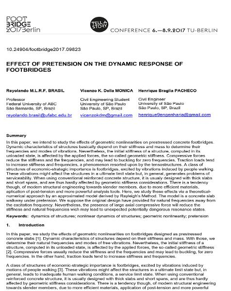 Effect of Pretension on the Dynamic Response of Footbridges