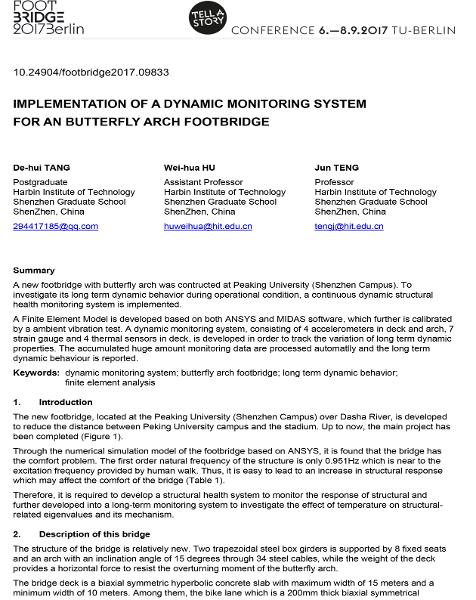 Implementation of a Dynamic Monitoring System for an Butterfly Arch Footbridge