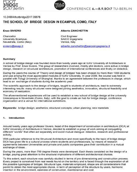 The School of Bridge Design in Ecampus, Como, Italy