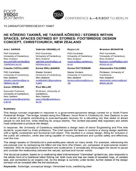 He Kōrero Takiwā, He Takiwā Kōrero / Stories Within Spaces, Spaces Defined by Stories: Footbridge Design Concept, Christchurch, New Zealand