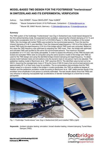 """Model-based TMD Design for the Footbridge """"Inwilerstrasse"""" in Switzerland and ist Experimental Verification"""