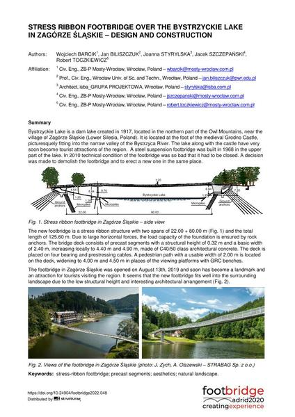 Stress Ribbon Footbridge over the Bystrzyckie Lake in Zagórze Śląskie – Design and Construction