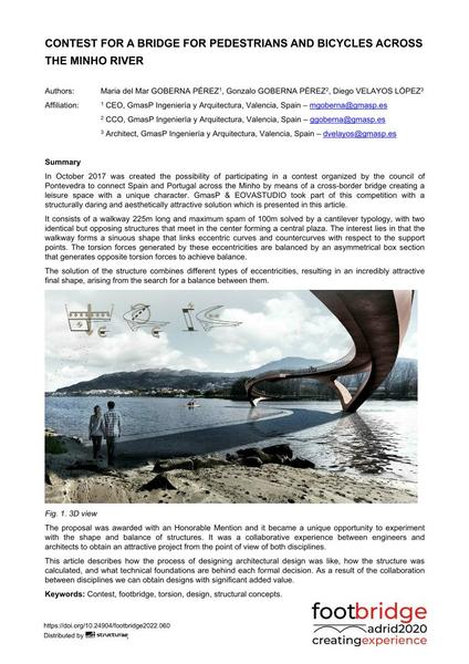Contest for a Bridge for Pedestrians and Bicycles across the River Minho